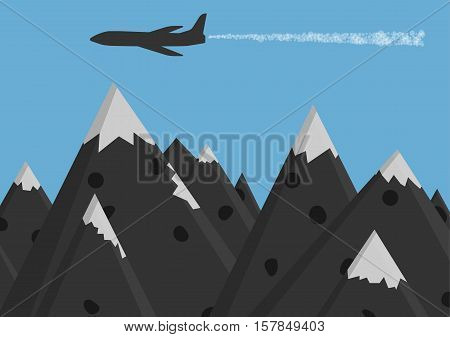 Silhouette of passenger plane in sky. Illustration of plane flying in the blue sky above mountains with snow peaks.