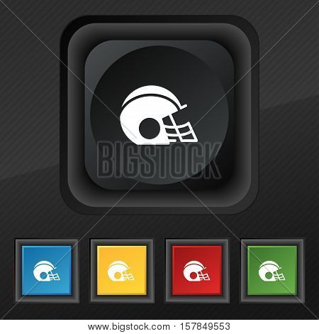 Football Helmet Icon Symbol. Set Of Five Colorful, Stylish Buttons On Black Texture For Your Design.