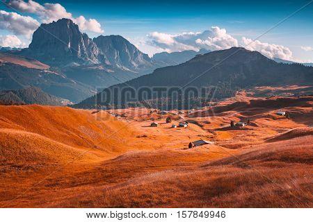 Colorful Autumn Sunsert On The Sassolungo (langkofel) Group