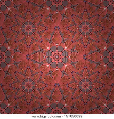 Vector Seamless Pattern Mandala Print. Vintage Decorative Elements. Hand Drawn Asian Background. Ara