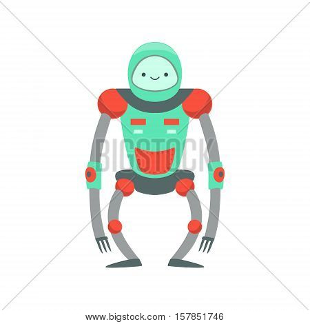 Green And Red Ape Like Friendly Android Robot Character Vector Cartoon Illustration. Futuristic Bionic Person Portrait In Childish Manner, Part Of Fantasy Droids Collection.