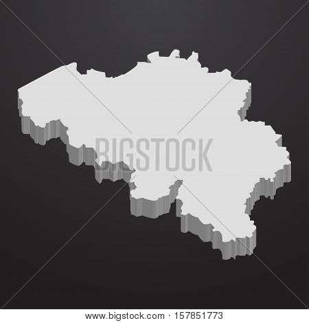 Belgium map in gray on a black background 3d