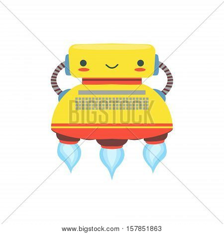 Yelllow Flying Friendly Android Robot Character In Shape Of Typewriter Vector Cartoon Illustration. Futuristic Bionic Person Portrait In Childish Manner, Part Of Fantasy Droids Collection.