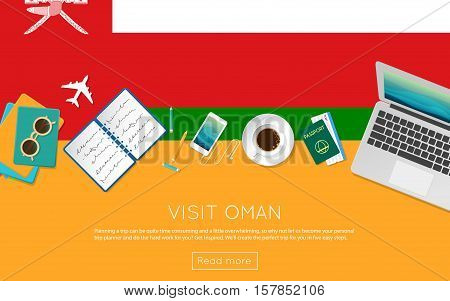 Visit Oman Concept For Your Web Banner Or Print Materials. Top View Of A Laptop, Sunglasses And Coff
