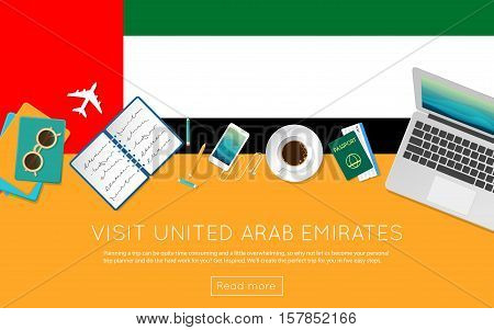 Visit United Arab Emirates Concept For Your Web Banner Or Print Materials. Top View Of A Laptop, Sun
