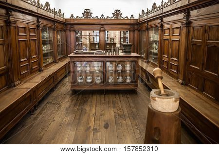 Milan, Italy - June 9, 2016: Old Phramacy At The Science And Technology Museum Leonardo Da Vinci