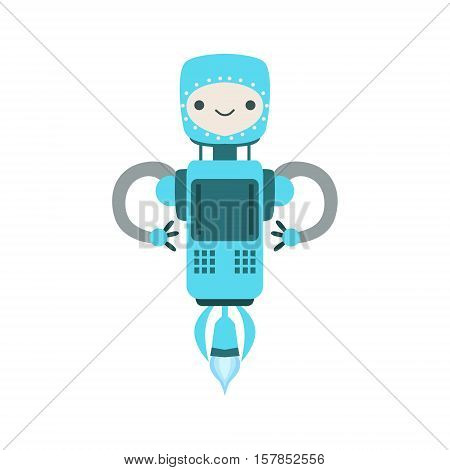 Blue Friendly Flying Android Robot Character Vector Cartoon Illustration. Futuristic Bionic Person Portrait In Childish Manner, Part Of Fantasy Droids Collection.