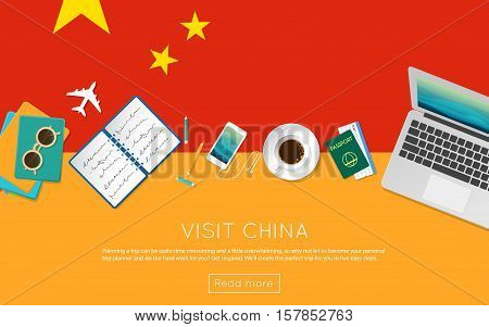 Visit China Concept For Your Web Banner Or Print Materials. Top View Of A Laptop, Sunglasses And Cof