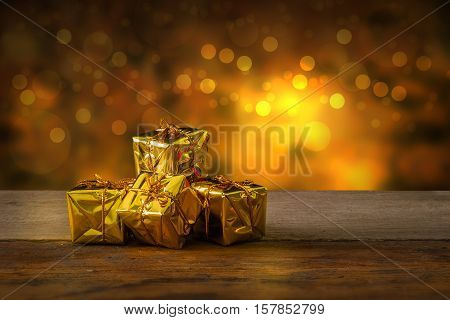 Christmas And New Year Background With Miniature Shopping Cart With Decorations