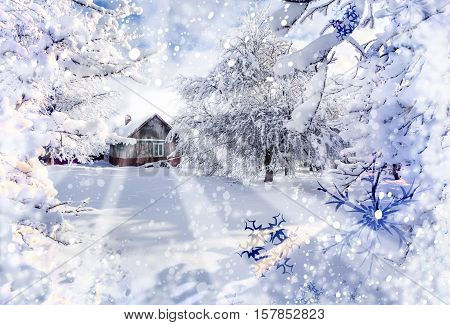 Winter fairytale heavy snowfall covered the trees and houses in the mountain village. Strymba village Carpathian Ukraine Europe.