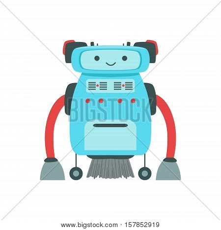 Blue Friendly Android Robot Character With Hair Vector Cartoon Illustration. Futuristic Bionic Person Portrait In Childish Manner, Part Of Fantasy Droids Collection.