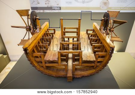 MILAN ITALY - JUNE 9 2016: paddle boat models of Leonardo da Vinci's scientific studies displayed at the Science and Technology Museum Leonardo da Vinci