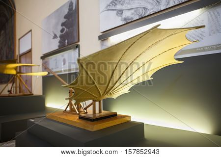 MILAN ITALY - JUNE 9 2016: beating wings models of Leonardo da Vinci's scientific studies displayed at the Science and Technology Museum Leonardo da Vinci