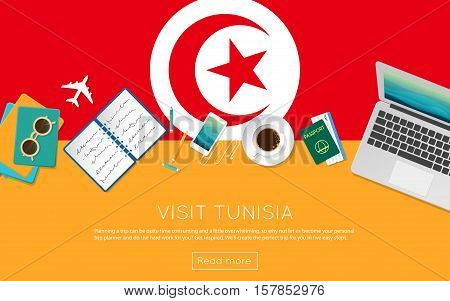 Visit Tunisia Concept For Your Web Banner Or Print Materials. Top View Of A Laptop, Sunglasses And C
