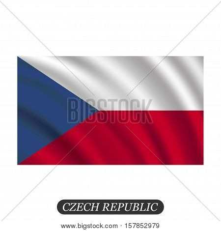 Waving Czech Republic flag on a white background. Vector illustration