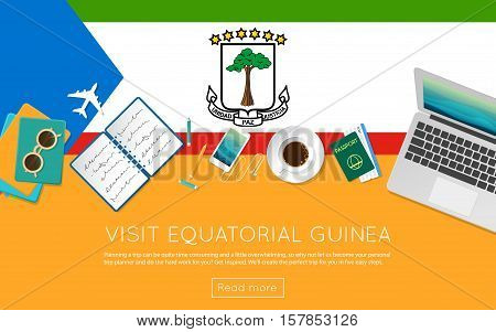 Visit Equatorial Guinea Concept For Your Web Banner Or Print Materials. Top View Of A Laptop, Sungla