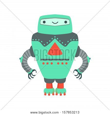 Grenn Giant Friendly Android Robot Character Vector Cartoon Illustration. Futuristic Bionic Person Portrait In Childish Manner, Part Of Fantasy Droids Collection.
