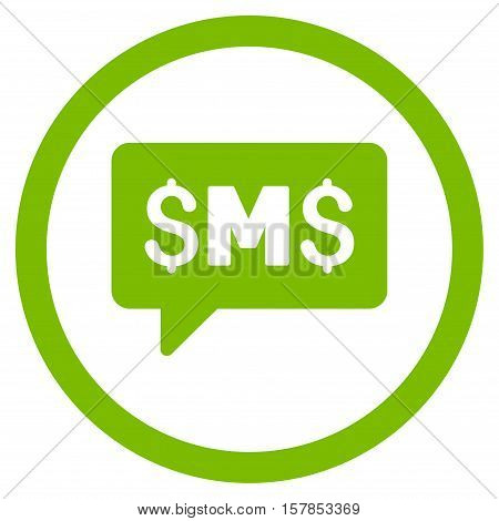 SMS Message vector rounded icon. Image style is a flat icon symbol inside a circle, eco green color, white background.