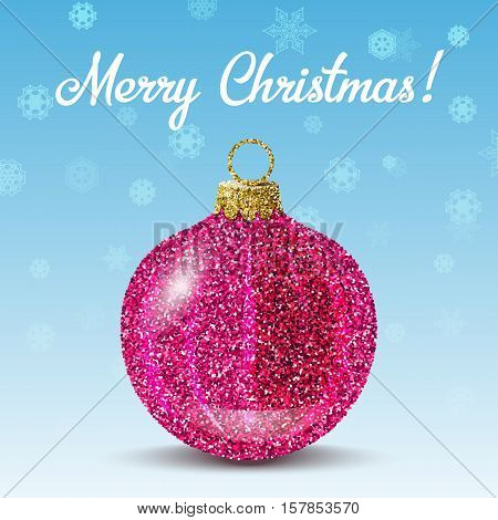 Pink christmas ball on blue background with snowflakes. Glitter sequins texture. Decoration for christmas tree or new year. Greeting card and banner. Vector EPS10 illustration.