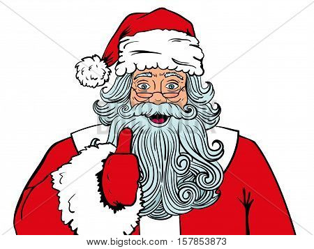 Wow Comic Santa Claus In Red Costume With Surprised Face And Open Mouth And  Thumb Up. Vector Hand-d