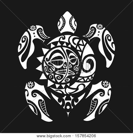 Turtle tattoo in Maori style on a black background. Vector illustration EPS10