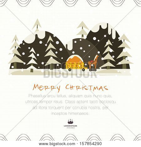 Cute Christmas greeting card. Toy truck with a horse on the road in the winter forest