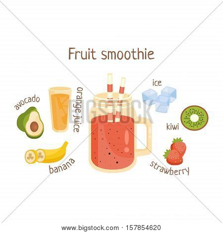 Fruit Smoothie Infographic Recipe With Needed Ingredients And Finished Mixed Non-Alcoholic Cocktail Drink In The Middle Cartoon Vector Illustration.Healthy Diet Blended Fresh Smoothie In A Glass With A Straw Preparation Info Drawing.