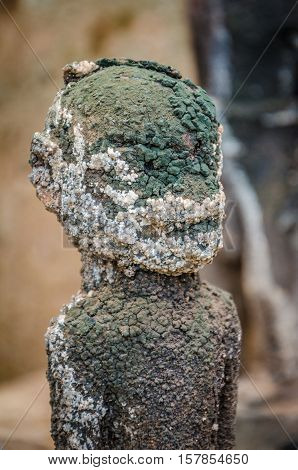 Ancient voodoo fetish sculptures used in this traditional African belief by the local fetish priest, Benin.