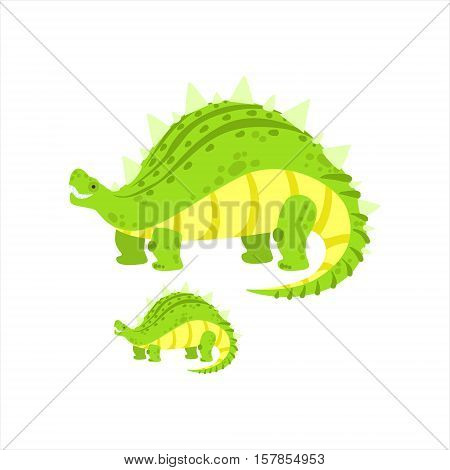 Green Stegosaurus Dinosaur Prehistoric Monster Couple Of Similar Specimen Big And Small Cartoon Vector Illustration. Part Of Jurassic Reptiles Species Collection Of Childish Drawings.