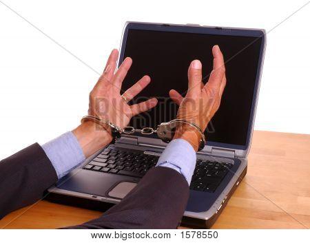 Hands Cuffed Grabbing Computer Screen