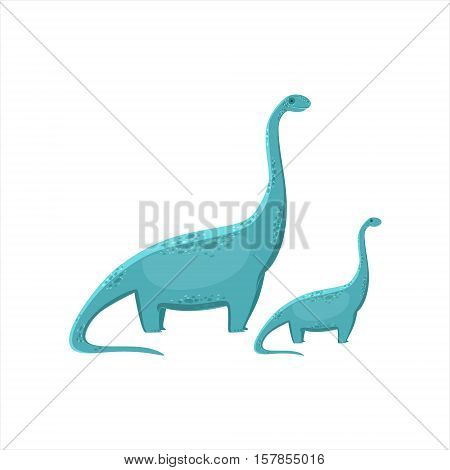 Blue Brahiosaurus Dinosaur Prehistoric Monster Couple Of Similar Specimen Big And Small Cartoon Vector Illustration. Part Of Jurassic Reptiles Species Collection Of Childish Drawings.
