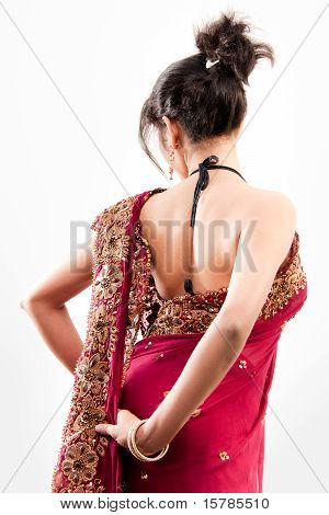 Beautiful Indian happy  woman in pink sari