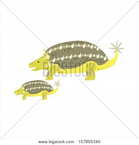 Ankylosaurus Dinosaur Prehistoric Monster Couple Of Similar Specimen Big And Small Cartoon Vector Illustration. Part Of Jurassic Reptiles Species Collection Of Childish Drawings.
