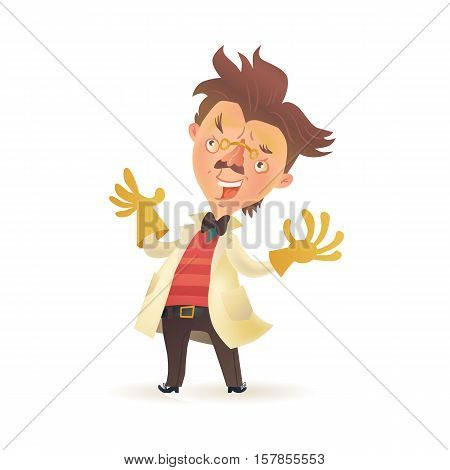 Bushy haired mad professor wearing lab coat and raising hands in rubber gloves, cartoon illustration isolated on white background. Crazy comic scientist, mad professor, chemist, doctor