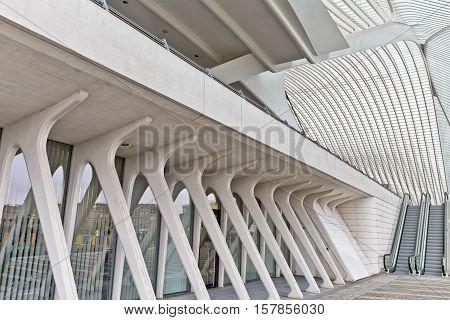 LIEGE BELGIUM - December 2014: View on escalators in the Liege-Guillemins railway station designed by Santiago Calatrava