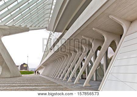 LIEGE BELGIUM - December 2014: View on ground level in the Liege-Guillemins railway station designed by Santiago Calatrava