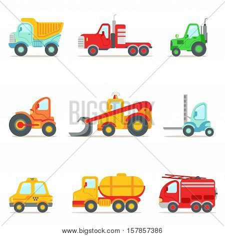 Public Service, Construction And Road Working Cars Collection Of Colorful Toy Cartoon Icons. Vector Illustrations In Bright Color With Vehicles Used For Building Work And Other Uses.