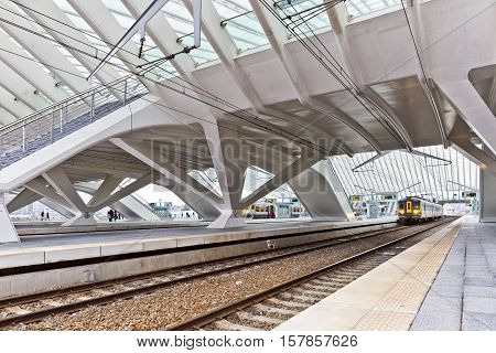 LIEGE BELGIUM - December 2014: The Liege-Guillemins railway station. This station is made of steel glass and white concrete designed by Spanish architect Santiago Calatrava