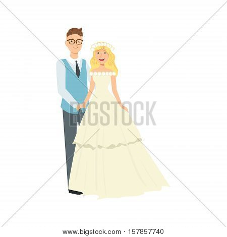 Blond Bride With Loose Hair And Groom Newlywed Couple In Traditional Wedding Dress And Suit Smiling And Posing For Photo. Happy Young Couple On A Wedding Day In Classic Clothing Vector Illustration.