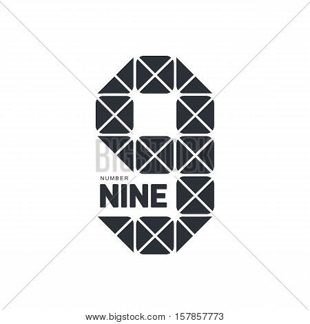 Black and white number nine geometrical logo template formed by triangles, vector illustration isolated on white background. Black and white number nine geometrical graphic logotype