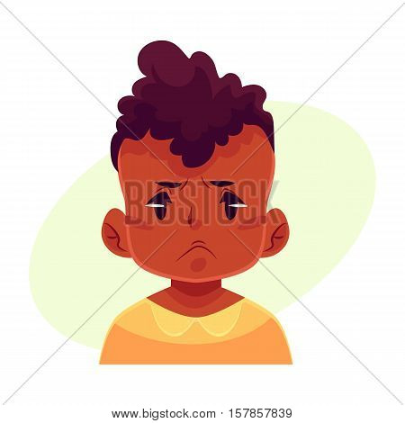 Little boy face, angry facial expression, cartoon vector illustrations isolated on yellow background. black male kid emoji face, feeling distresses, frustrated, sullen, upset. Angry face expression