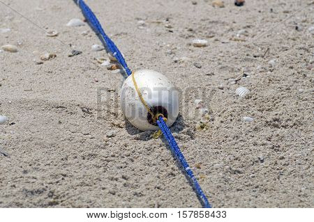 Pool With Buoys Diagonal Line Of The  On The Rope,