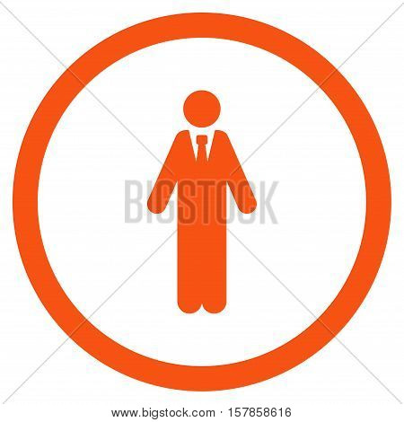Clerk vector rounded icon. Image style is a flat icon symbol inside a circle, orange color, white background.