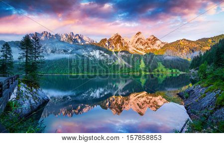 Tranquil Summer Scene On The Vorderer Gosausee Lake In The Austrian Alps