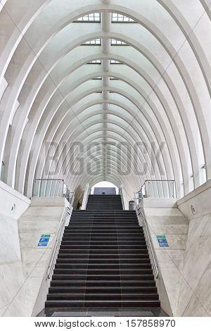 LIEGE BELGIUM - December 2014: Entrance of the railway station Liege-Guillemins designed by Spanish architect Santiago Calatrava