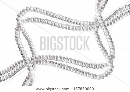 Strings of pearl as a frame on white background