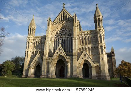 St Albans cathedral in early evening sunlight