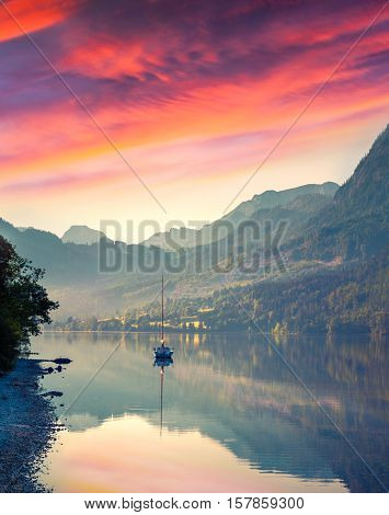Dramatic Summer Sunrise On The Grundlsee Lake.