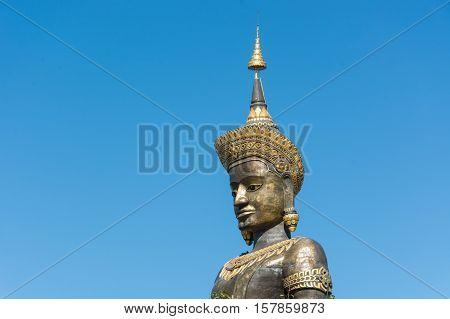The Black Big Tammaracha buddha statue in Petchabun province Thailand
