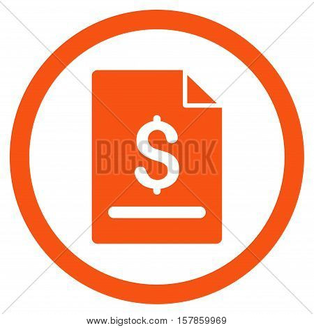 Invoice Page vector rounded icon. Image style is a flat icon symbol inside a circle, orange color, white background.